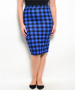 Checkered Print Pencil Skirt - Royal/Black