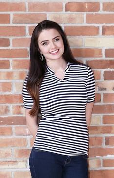 Navy/White Stripe Top