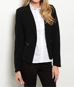 Notch Collar Black Blazer