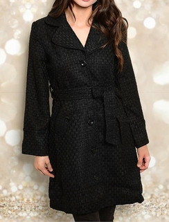 Black Textured Jacket with Button Closure
