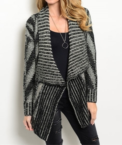 Open Front Cardigan -Black/Gray
