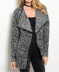 Black/Gray Marled Draped Collar Cardigan