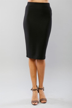 Black Solid Midi Pencil Skirt