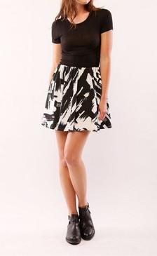 Black/White Printed Flare Mini Skirt