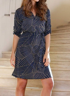 Navy/Olive Print Belted Shirt Dress