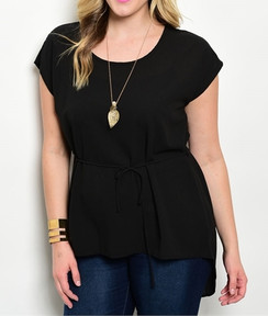 Short Sleeve Tie Waist Tunic - Black