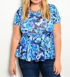 Blue Floral Print Peplum Top