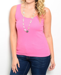 Pink Stretch Knit Tank Top
