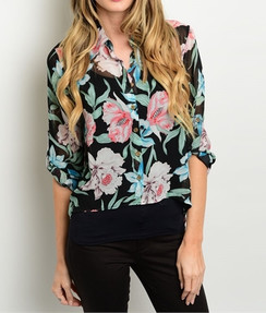 Sheer Floral Print Top - Black