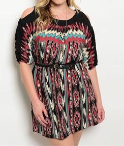 Multi Color Native Print Dress
