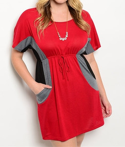 Color Block Empire Waist Dress - Red/Gray