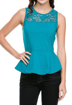 Lace Trim Peplum Top - Turq