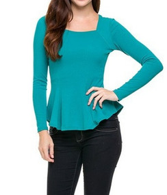 Textured Peplum  Long Sleeve Top