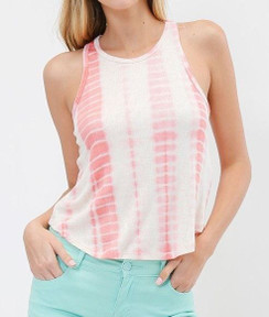 Tie Dye Racer Back Tank Top - Coral/White