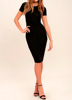 Cap Sleeve Midi Bodycon Dress - Black