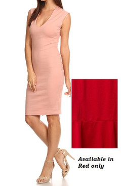 Bodycon Solid Dress--RED