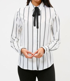 Chiffon Tie Button Down Blouse- Cream/Black