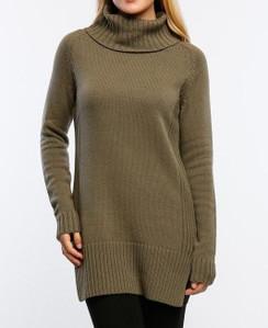 Turtle Neck Sweater Dress - Olive
