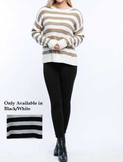 Black/White Split Back Sweater