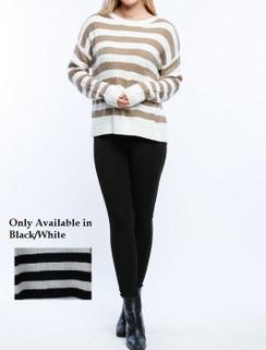 Black/White Split Back Sweater