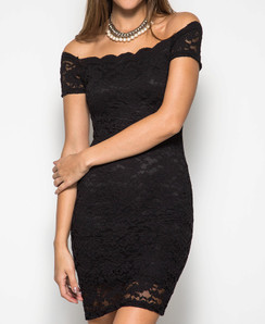 Bodycon Off Shoulder Lace Dress - Black