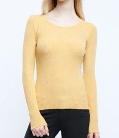 Long Sleeve Rib Knit Top - Mustard