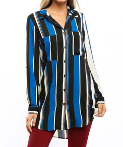Stripe Print Roll Up Sleeve Tunic - Black/Blue