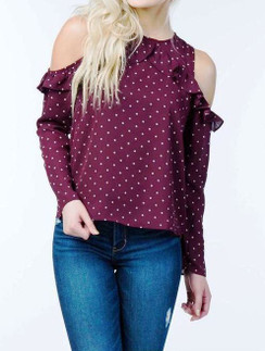 Cold Shoulder Printed Top - Wine