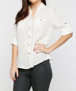 Dual Pocket Blouse - Ivory