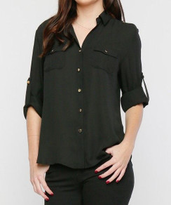 Dual Pocket Blouse - Black