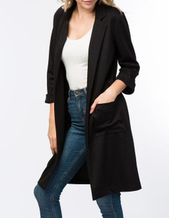 Cuffed Sleeve Longline Jacket - Black