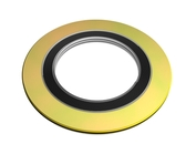 "600 Spiral Wound Gasket, Inconel 600 Windings, with Flexible Graphite Filler, For 1 1/2"" Pipe, Pressure Tolerance, 150#, Gold Band with Grey Stripes Part Number: 90001500600GR150"