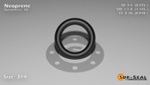 O-Ring, Black Neoprene Size: 314, Durometer: 70 Nominal Dimensions: Inner Diameter: 29/40(0.725) Inches (1.8415Cm), Outer Diameter: 1 10/69(1.145) Inches (2.9083Cm), Cross Section: 17/81(0.21) Inches (5.33mm) Part Number: OR70BLKNEO314