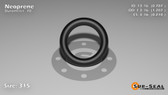 O-Ring, Black Neoprene Size: 315, Durometer: 70 Nominal Dimensions: Inner Diameter: 48/61(0.787) Inches (1.99898Cm), Outer Diameter: 1 6/29(1.207) Inches (3.06578Cm), Cross Section: 17/81(0.21) Inches (5.33mm) Part Number: OR70BLKNEO315