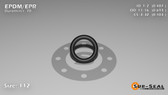 O-Ring, Black EPDM/EPR/Ethylene/Propylene Size: 112, Durometer: 70 Nominal Dimensions: Inner Diameter: 19/39(0.487) Inches (1.23698Cm), Outer Diameter: 9/13(0.693) Inches (1.76022Cm), Cross Section: 7/68(0.103) Inches (2.62mm) Part Number: OREPD112