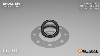 O-Ring, Black EPDM/EPR/Ethylene/Propylene Size: 113, Durometer: 70 Nominal Dimensions: Inner Diameter: 28/51(0.549) Inches (1.39446Cm), Outer Diameter: 37/49(0.755) Inches (1.9177Cm), Cross Section: 7/68(0.103) Inches (2.62mm) Part Number: OREPD113