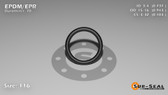 O-Ring, Black EPDM/EPR/Ethylene/Propylene Size: 116, Durometer: 70 Nominal Dimensions: Inner Diameter: 14/19(0.737) Inches (1.87198Cm), Outer Diameter: 33/35(0.943) Inches (2.39522Cm), Cross Section: 7/68(0.103) Inches (2.62mm) Part Number: OREPD116