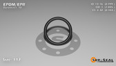 O-Ring, Black EPDM/EPR/Ethylene/Propylene Size: 117, Durometer: 70 Nominal Dimensions: Inner Diameter: 4/5(0.799) Inches (2.02946Cm), Outer Diameter: 1(1.005) Inches (2.5527Cm), Cross Section: 7/68(0.103) Inches (2.62mm) Part Number: OREPD117