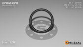 O-Ring, Black EPDM/EPR/Ethylene/Propylene Size: 120, Durometer: 70 Nominal Dimensions: Inner Diameter: 76/77(0.987) Inches (2.50698Cm), Outer Diameter: 1 11/57(1.193) Inches (3.03022Cm), Cross Section: 7/68(0.103) Inches (2.62mm) Part Number: OREPD120