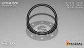 O-Ring, Black EPDM/EPR/Ethylene/Propylene Size: 125, Durometer: 70 Nominal Dimensions: Inner Diameter: 1 29/97(1.299) Inches (3.29946Cm), Outer Diameter: 1 50/99(1.505) Inches (3.8227Cm), Cross Section: 7/68(0.103) Inches (2.62mm) Part Number: OREPD125