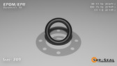 O-Ring, Black EPDM/EPR/Ethylene/Propylene Size: 209, Durometer: 70 Nominal Dimensions: Inner Diameter: 51/76(0.671) Inches (1.70434Cm), Outer Diameter: 93/98(0.949) Inches (2.41046Cm), Cross Section: 5/36(0.139) Inches (3.53mm) Part Number: OREPD209