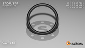 O-Ring, Black EPDM/EPR/Ethylene/Propylene Size: 218, Durometer: 70 Nominal Dimensions: Inner Diameter: 1 11/47(1.234) Inches (3.13436Cm), Outer Diameter: 1 21/41(1.512) Inches (3.84048Cm), Cross Section: 5/36(0.139) Inches (3.53mm) Part Number: OREPD218