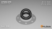 O-Ring, Black EPDM/EPR/Ethylene/Propylene Size: 310, Durometer: 70 Nominal Dimensions: Inner Diameter: 19/40(0.475) Inches (1.2065Cm), Outer Diameter: 17/19(0.895) Inches (2.2733Cm), Cross Section: 17/81(0.21) Inches (5.33mm) Part Number: OREPD310