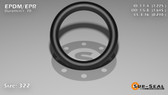 O-Ring, Black EPDM/EPR/Ethylene/Propylene Size: 322, Durometer: 70 Nominal Dimensions: Inner Diameter: 1 9/40(1.225) Inches (3.1115Cm), Outer Diameter: 1 20/31(1.645) Inches (4.1783Cm), Cross Section: 17/81(0.21) Inches (5.33mm) Part Number: OREPD322