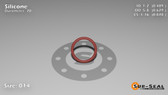 O-Ring, Orange Vinyl Methyl Silicone Size: 014, Durometer: 70 Nominal Dimensions: Inner Diameter: 22/45(0.489) Inches (1.24206Cm), Outer Diameter: 39/62(0.629) Inches (1.59766Cm), Cross Section: 4/57(0.07) Inches (1.78mm) Part Number: ORSIL014
