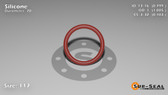 O-Ring, Orange Vinyl Methyl Silicone Size: 117, Durometer: 70 Nominal Dimensions: Inner Diameter: 4/5(0.799) Inches (2.02946Cm), Outer Diameter: 1(1.005) Inches (2.5527Cm), Cross Section: 7/68(0.103) Inches (2.62mm) Part Number: ORSIL117