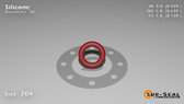 O-Ring, Orange Vinyl Methyl Silicone Size: 204, Durometer: 70 Nominal Dimensions: Inner Diameter: 14/39(0.359) Inches (9.12mm), Outer Diameter: 7/11(0.637) Inches (1.61798Cm), Cross Section: 5/36(0.139) Inches (3.53mm) Part Number: ORSIL204
