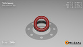 O-Ring, Orange Vinyl Methyl Silicone Size: 206, Durometer: 70 Nominal Dimensions: Inner Diameter: 15/31(0.484) Inches (1.22936Cm), Outer Diameter: 16/21(0.762) Inches (1.93548Cm), Cross Section: 5/36(0.139) Inches (3.53mm) Part Number: ORSIL206