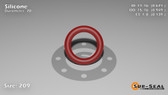 O-Ring, Orange Vinyl Methyl Silicone Size: 209, Durometer: 70 Nominal Dimensions: Inner Diameter: 51/76(0.671) Inches (1.70434Cm), Outer Diameter: 93/98(0.949) Inches (2.41046Cm), Cross Section: 5/36(0.139) Inches (3.53mm) Part Number: ORSIL209