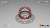 O-Ring, Orange Vinyl Methyl Silicone Size: 211, Durometer: 70 Nominal Dimensions: Inner Diameter: 39/49(0.796) Inches (2.02184Cm), Outer Diameter: 1 2/27(1.074) Inches (2.72796Cm), Cross Section: 5/36(0.139) Inches (3.53mm) Part Number: ORSIL211
